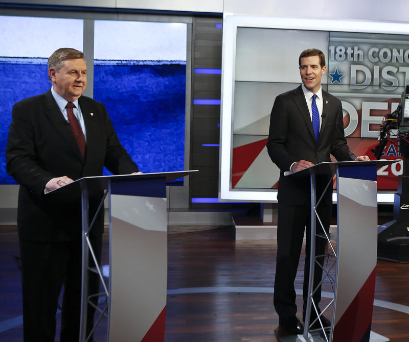 Republican Rick Saccone (left) is running against Democrat Conor Lamb (right) and Libertarian Drew Miller (not pictured) in a special election for Congress Tues., Mar. 13, 2018.