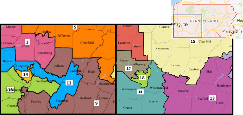 On the left, the current congressional map is pictured. The state Supreme Court's version, on the right, would bring all of Greene, Fayette, and Washington Counties, and much of Westmoreland County, into the 18th District and renumber it the 14th.