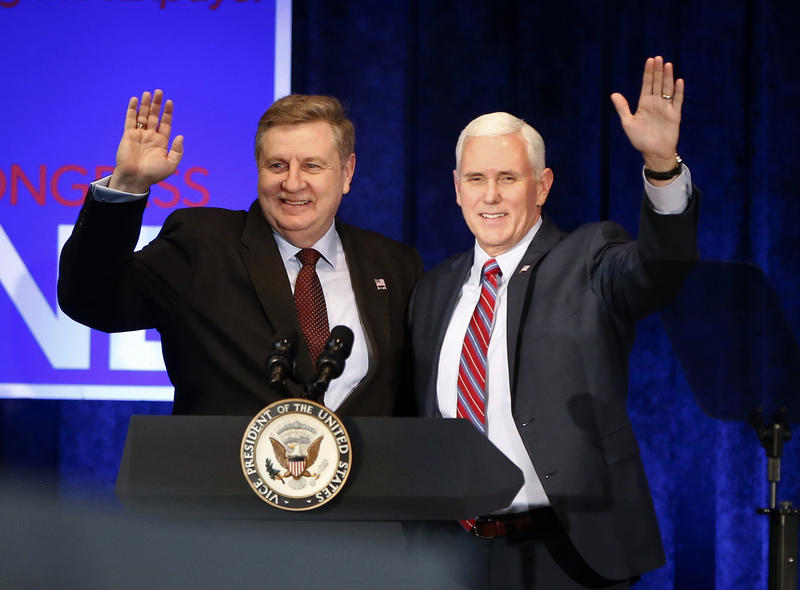 Vice President Mike Pence, right, stands with State Rep. Rick Saccone before a fundraising event on Friday, Feb. 2, 2018 in Bethel Park, for the Republican, who is vying to represent Pennsylvania's 18th Congressional District.