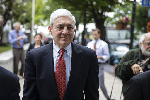 Former Penn State President Graham Spanier departs after his sentencing hearing at the Dauphin County Courthouse in Harrisburg, Pa., Friday, June 2, 2017.