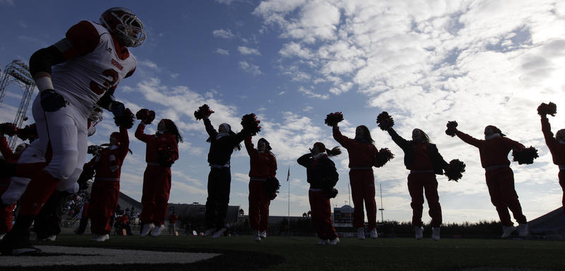 Riverside High School football players are cheered as they take the field before a Class A Championship football game against Clairton High School at the PIAA High School Football Championships in Hershey, Pa., Friday, Dec. 17, 2010,