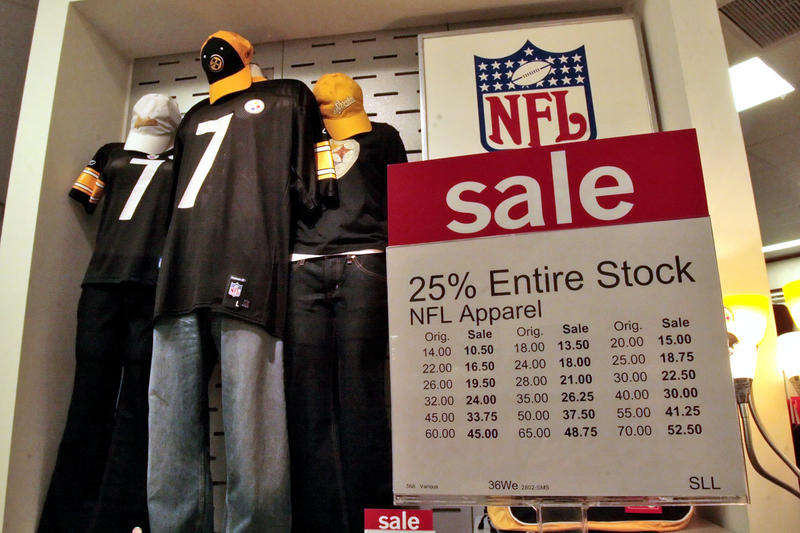 Steelers jerseys are on sale in a display of NFL merchandise in the J.C. Penney store inside The Mall at Robinson, in Robinson Township, Thursday, Oct. 11, 2007.