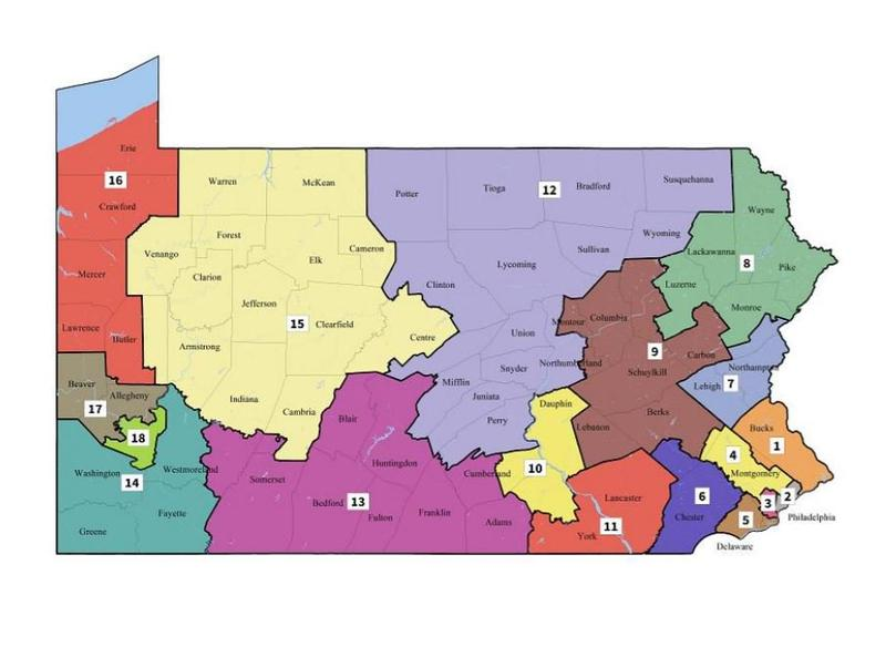 A map shows Pennsylvania's new congressional districts drawn by the state Supreme Court and released to the public on Monday, Feb. 19, 2018.