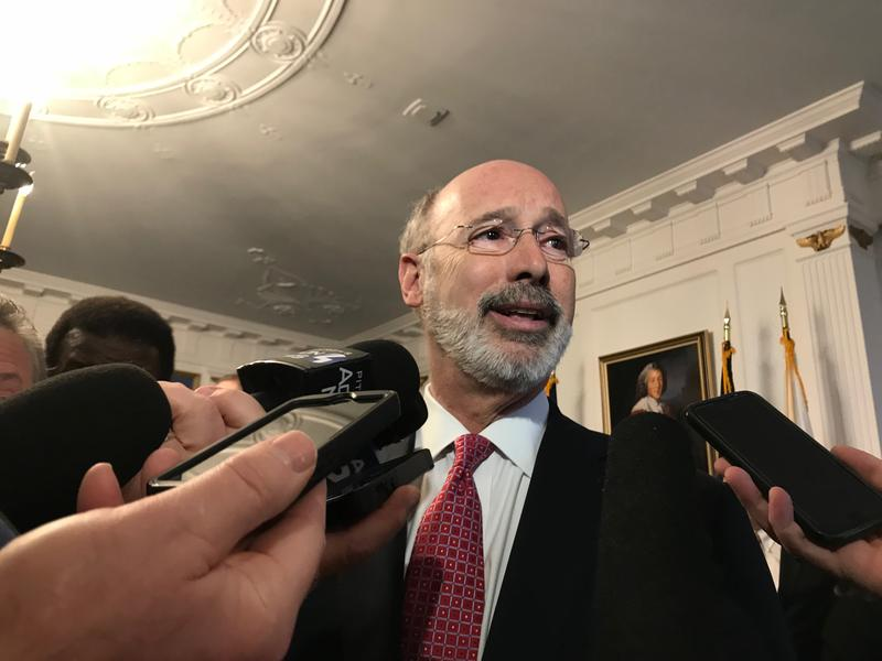 Gov. Tom Wolf speaks with reporters while in Pittsburgh Monday, Feb. 12, 2018.