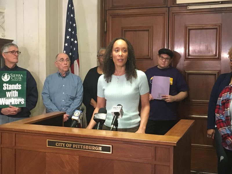 Attorney Mica Lee Williams spoke in support of Pittsburgh's Paid Sick Days Act, which state courts have blocked from taking effect, outside City Council chambers on Thurs., Feb., 15, 2018.