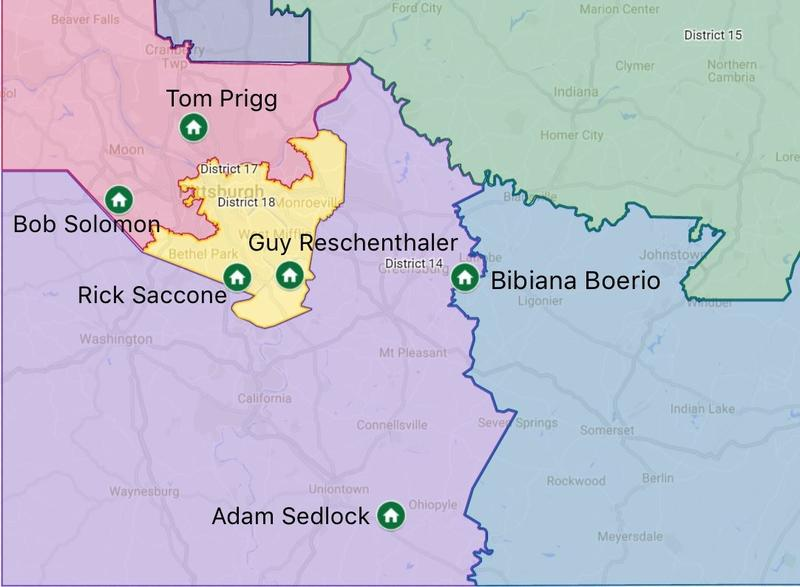 A map shows Pennsylvania's 14th Congressional District (purple) in relation to the addresses of the candidates seeking to represent its residents. Only Democrats Bibiana Boerio and Adam Sedlock live within the new boundaries.