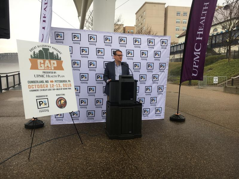 Bryan Perry, executive director of the Allegheny Trail Alliance, speaks during a press conference announcing the Great Allegheny Passage Relay.