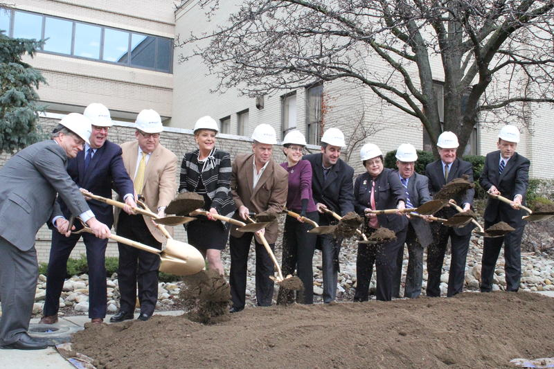 Community, city, county and hospital leaders break ground on a new cencer and academic center that will be built adjacent to the Allegheny General Hospital on the north side.
