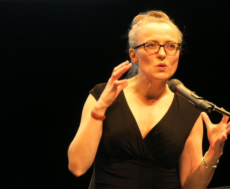 Marya Sea Kaminski, 40, speaks to a crowd of about 100 subscribers, donors and local talent to announce the 2018-19 lineup for the Pittsburgh Public Theater on Tuesday, Feb. 27, 2018.