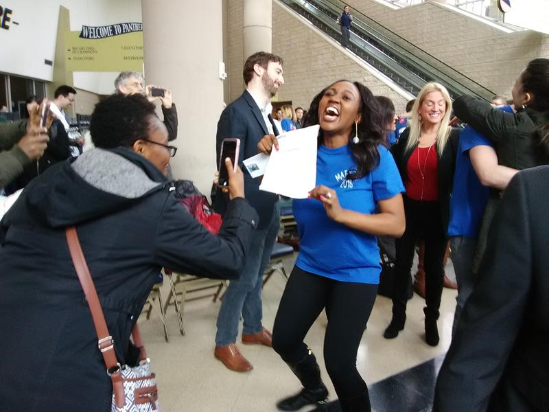 Nadeige Chop celebrates after finding out she got into her first choice residency program. She'll train in anesthesiology at Johns Hopkins University School of Medicine in Balitmore.