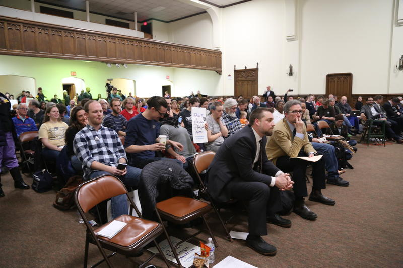 People packed a public meeting about the future of the Former Penn Plaza site to demand affordable housing.