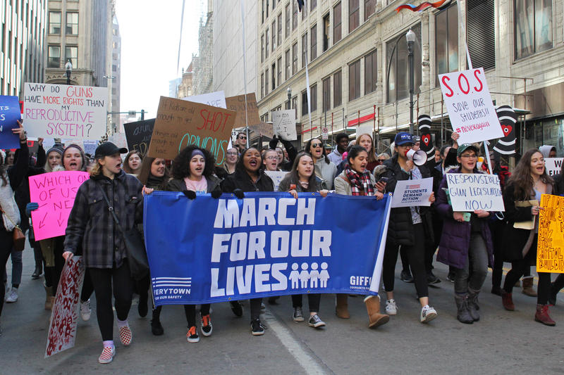 Demonstrators fill parts of Downtown Pittsburgh on Saturday, March 24, 2018, to rally against gun violence during March for Our Lives. The event was held in tandem with hundreds of sister marches nationwide.