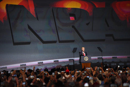 President Donald Trump speaks during the National Rifle Association-ILA Leadership Forum, Friday, april 2018, 2017, in Atlanta.