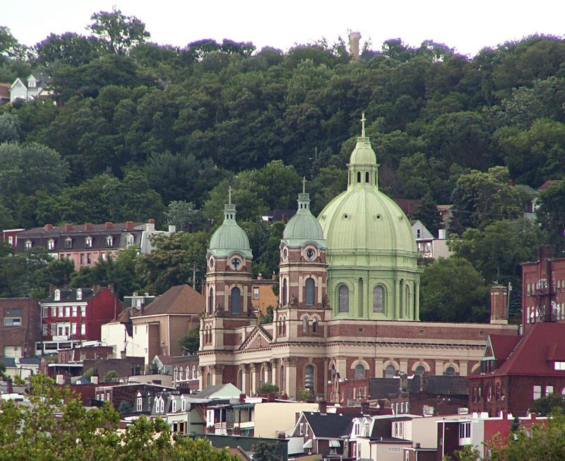 A view of Polish Hill, including the Immaculate Heart of Mary church, from the Herr's Island Railroad Bridge.