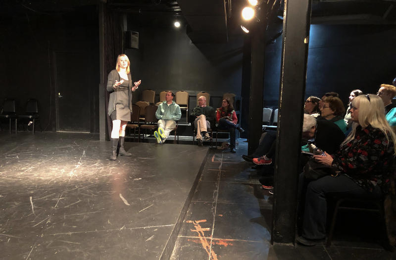 "Rachael Wonderlin speaks to attendees of the ""Agreeing to Remember"" workshop at Steel City Improv Theatre on February 17th, 2018."