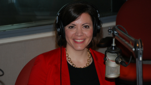 Christina Hartman pictured at WITF's studios for its show Smart Talk.