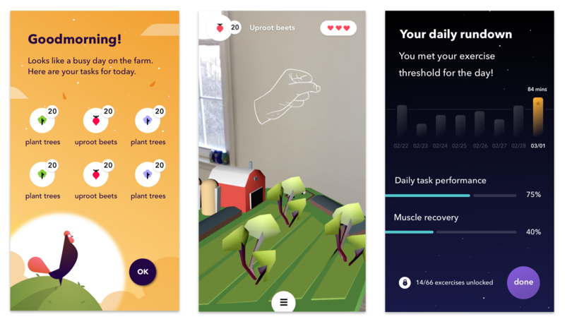 Screenshots from a prototype of Wabbit, a mobile game created by students at Carnegie Mellon University. The game is meant to help patients in stroke recovery complete physical therapy tasks.
