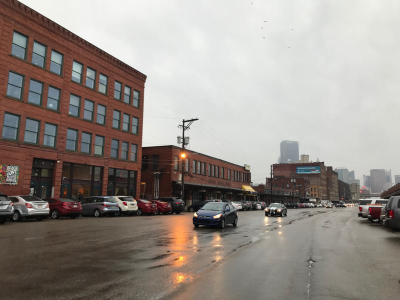 Smallman Street in the Strip District widens as it runs toward downtown past the eastern end of the Produce Terminal. Starting in April, traffic will be restricted to one lane in each direction, and eliminate parking from 16th to 21st Streets.