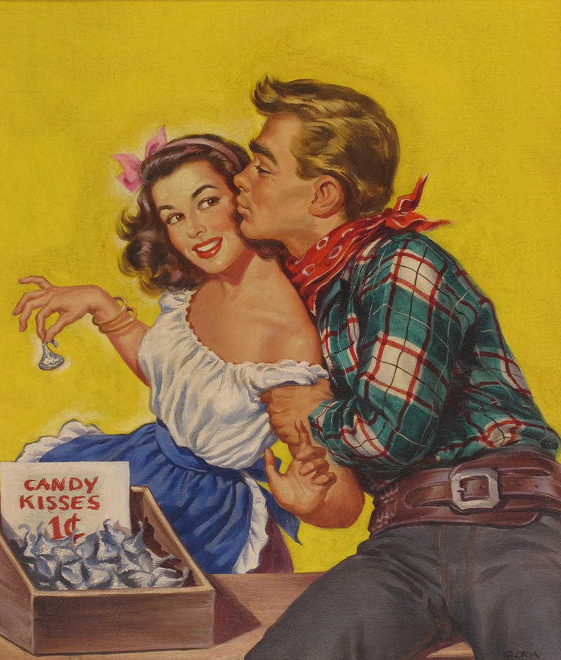 "A cover image from a 1940s issue of ""Rangeland Romances"" drawn by Pittsburgh artist Gloria Stoll Karn."