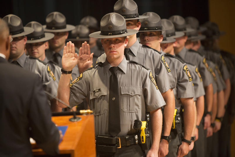 State Police cadets take part in the 142nd class graduation in Harrsiburg, on Sept. 4, 2015.