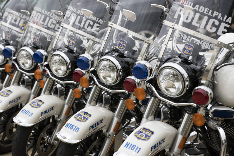 Shown are Philadelphia Police motorcycles in Philadelphia, Wednesday, May 3, 2017.