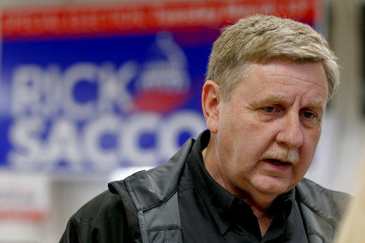 Republican Rick Saccone talks with supporters at a campaign rally, Monday, March 5, 2018 in Waynesburg, Pa.