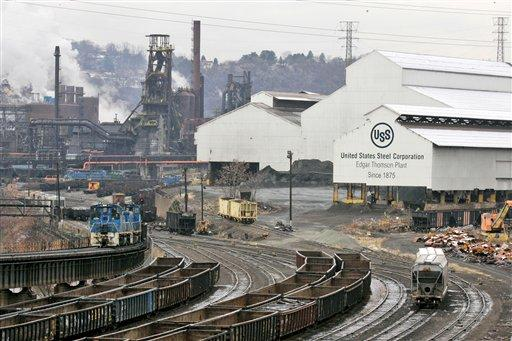 In this Nov. 16, 2008 file photo, United States Steel Corp's. Edgar Thomson Works in Braddock, Pa. is shown.