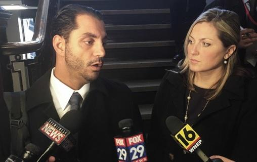 Rep. Tarah Tohil and her lawyer, Jerrett Ferntino, speak to reporters at the Luzerne County Courthouse in Wilkes-Barre, Pa., on Thursday, March 15, 2018. The Pennsylvania lawmaker alleges a fellow lawmaker pulled a gun on her and threatened to kill her.
