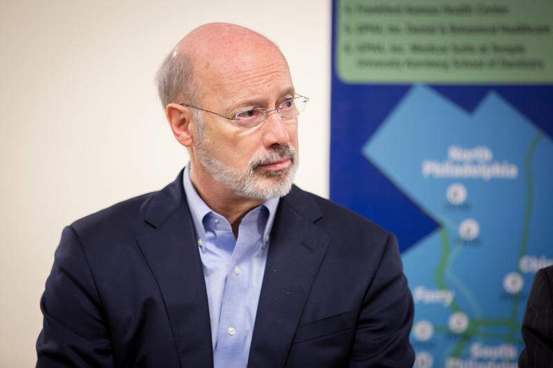 Gov. Tom Wolf participates in a listening session on gun violence in Philadelphia.