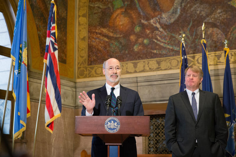 Governor Tom Wolf with Allegheny County Executive Rich Fitzgerald at the County Courthouse in Pittsburgh on Monday, March 12, 2018.