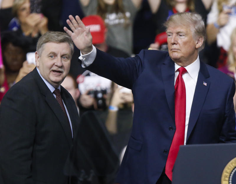 President Donald Trump (right) campaigned for state Rep. Rick Saccone (R - Elizabeth) Sat., Mar. 10, 2018. Saccone is competing against Conor Lamb (D - Mt. Lebanon) in the special congressional election in Pennsylvania's 18th District south of Pittsburgh.