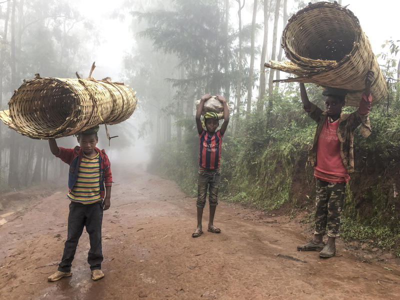 A group of boys carry floor mats in Sodo, Ethiopia.