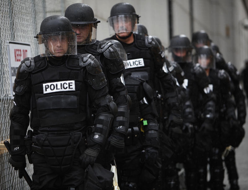 Police officers in riot gear are seen in Pittsburgh, Tuesday, Sept. 22, 2009.