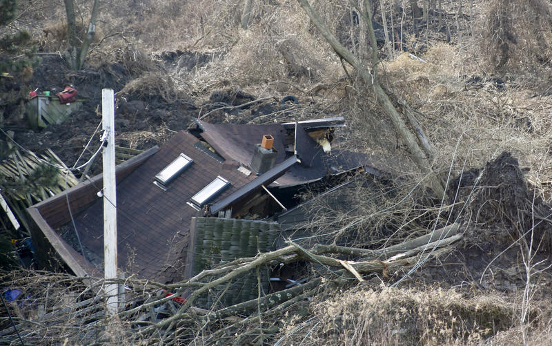 A landslide in the Duquesne Heights neighborhood of Pittsburgh destroyed a house. The February slide is one of more than a dozen slides in the area this year.
