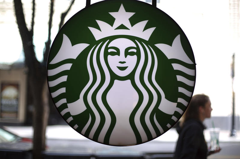This image of a Starbucks sign was taken in downtown Pittsburgh.