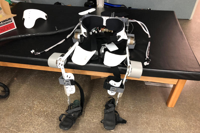 A robotic exoskeleton walking assistance device created by Nitin Sharma and colleagues at the University of Pittsburgh. Sharma is working on using ultrasound technology to improve the performance of these devices for patients with partial paralysis.