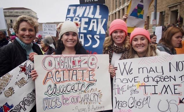 District 6 congressional candidate Chrissy Houlahan attends the 2017 Women's March with daughters Molly and Carly, and friend Meredith Cheney.
