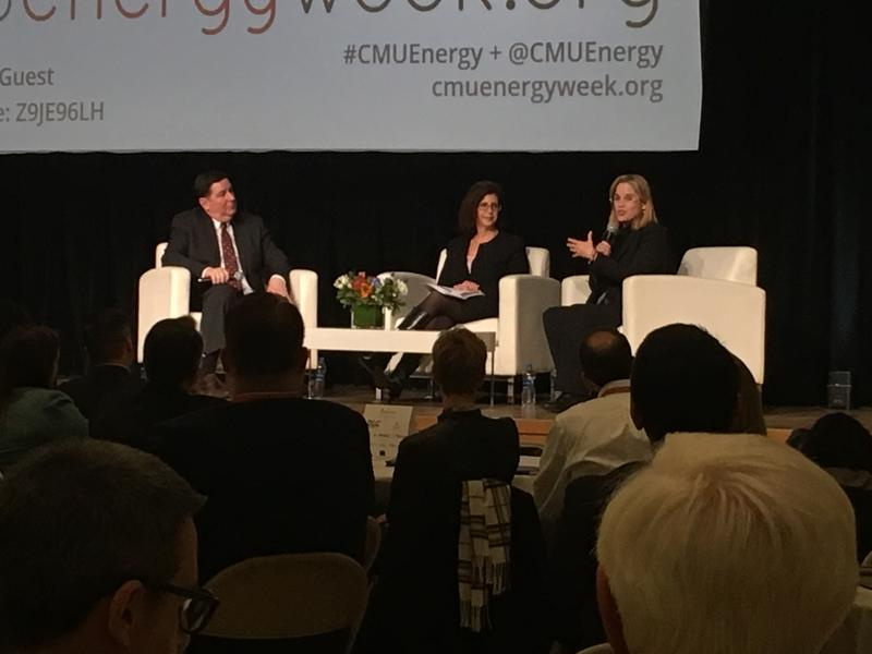 San Juan Mayor Carmen Yulín Cruz, right, of Puerto Rico speaks on a panel at Carnegie Mellon University alongside Pittsburgh Mayor Bill Peduto and CMU Interim Provost Laurie Weingart.