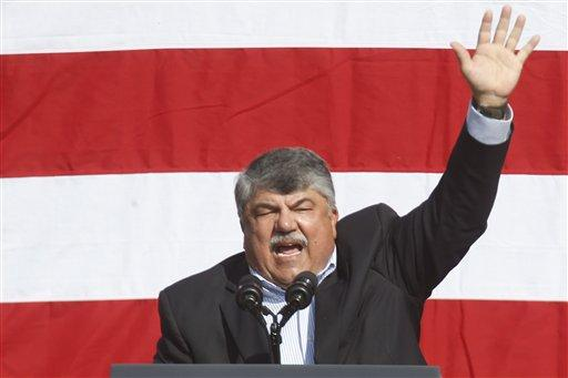 AFL-CIO president Rich Trumka speaks to a crowd before the Labor Day Parade in Pittsburgh on Sept. 7, 2015.