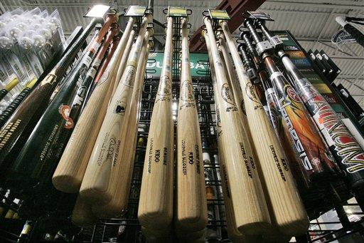 Wooden bats on display at a sporting goods store in Robinson Township, Pa. A school district outside of Erie is arming teachers with wooden baseball bats.