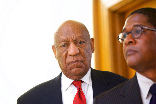Actor and comedian Bill Cosby reacts while being notified a verdict was in in his sexual assault retrial on Thursday, April 26, 2018.