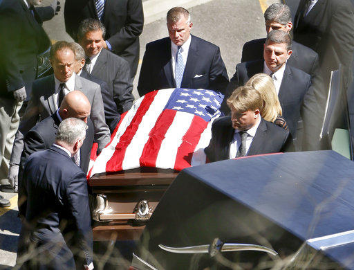 Pallbearers carry the casket of former professional wrestler Bruno Sammartino on Monday, April 23, 2018 in Ross Township.