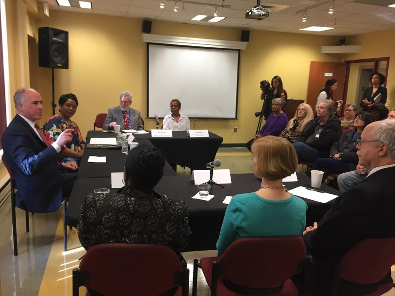 Senator Bob Casey (D-PA) speaks at a roundtable discussion with grandparents raising their grandchildren on Monday, April 9, 2018.