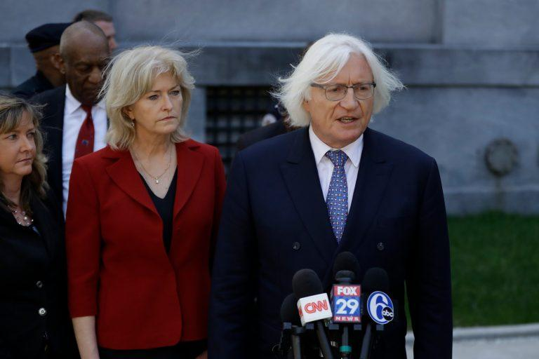 Attorneys Tom Mesereau, (right), and Kathleen Bliss talk to the media after Bill Cosby's sexual assault trial, Thursday, April 26, 2018, at the Montgomery County Courthouse.