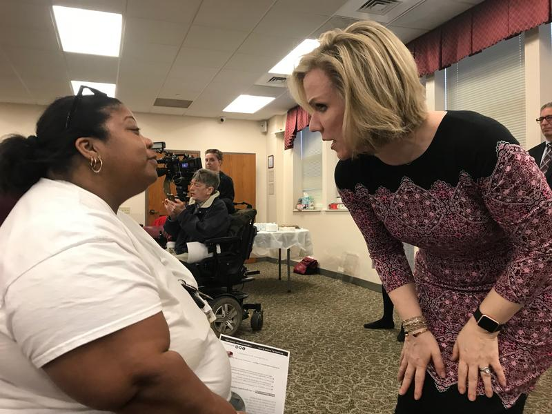 Rankin resident Aliya Williams speaks with Port Authority CEO Katherine Kelleman, who thanked Williams for her comment at a public meeting Thursday night about the updated BRT proposal.