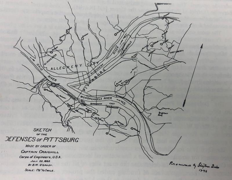 A sketch of the 37 Pittsburgh-area Civil War redoubts constructed during the summer of 1863, when the area feared being attacked by the Confederate Army. Few remains still exist of the forts, many of which were just earthworks and trenches.