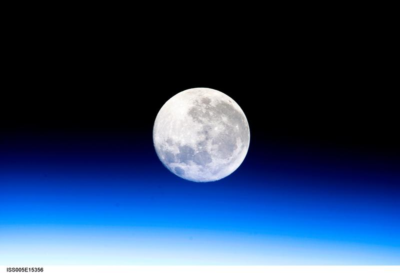 A full moon, as seen from the International Space Station in 2002.