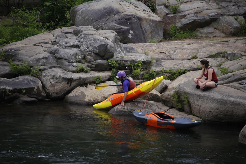 Visitors to Ohiopyle State Park prepare to kayak in the Youghiogheny River in Ohiopyle, Pa., Sunday, May 31, 2015.