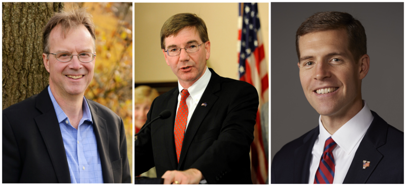 Small business owner Ray Linsenmayer (D - McCandless) (left), U.S. Rep. Keith Rothfus (R - Sewickley) (center), and U.S. Rep. Conor Lamb (D - Mt. Lebanon) are vying to represent the newly formed 17th Congressional District north and west of Pittsburgh.