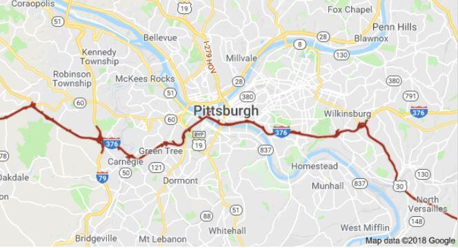 A map highlights Route 30's route through Pittsburgh.